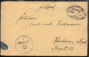 FRANKFURT-BASEL Z. 960 4.1.45 auf FP-Bf., Bf. Einriss