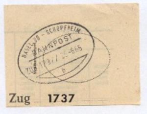 BASEL BB-SCHOPFHEIM b ZUG 1737 25.6.65 auf Bf.-Stück