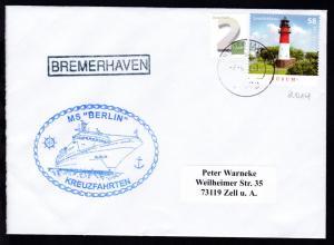 OSt. Bremerhaven 7.6.14 + R1 BREMERHAVEN + Cachet MS Berlin auf Brief