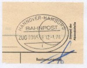 HANNOVER-HAMBURG i ZUG 000596 12.1.74 auf Bf.-Stück