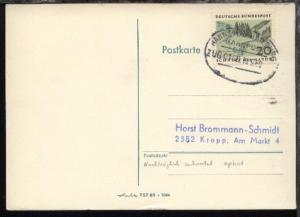 HANNOVER-HAMBURG ZUG 0168 19.9.69 auf PK, Nachträglich entwertet aptiert