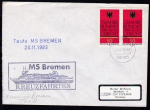 OSt. Bremen 20.11.93 + L2 Taufe MS BREMEN 20.11.1993 + Cachet auf Brief