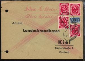 KIEL-LÜBECK Z. 1107 14.2.53 auf Antwort-Bf. der Landesbrandkasse Kiel
