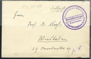 violetter Briefstempel Kommando d. Sperrverkehrsdivision der Elbe