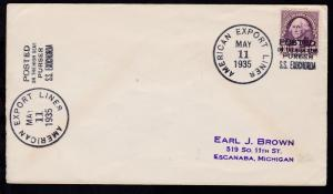 AMERICAN EXPORT LINE MAY 11 1935 POSTED ON THE HIGH SEAS PURSER S.S. EXOCHORDA