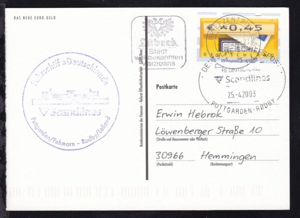 DEUTSCHE SCHIFFSPOST FS DEUTSCHLAND Scandlines PUTTGARDEN-RÖDBY 25.4.2003 + 0