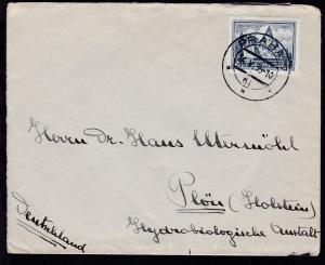 Schlacht von Arras 2 Kc auf Brief ab Prag 24.V.35 nach Plön (Holstein)