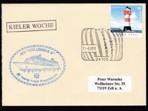 KIEL 24105 KIELER WOCHE 2012 21.6.2012 + R1 KIELER WOCHE + Cachet MS Columbus 2
