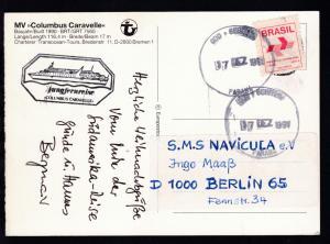 OSt. Curitiba Parana 7 DEZ 1997 + cachet Jungfernreiser MS Columbus Caravelle
