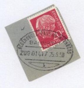 REGENSBURG-PASSAU-NÜRNBERG a ZUG 01417 25.8.58 auf Bf.-Stück