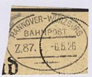 HANNOVER-WÜRZBURG Z. 87 6.5.26 auf Bf.-Stück