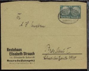 GLATZ-DITTERSBACH Z. 555 27.5.38 auf Firmen-Bf. (Elisabeth Strauch, Neurode),