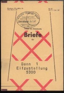 MÜNCHEN-FRANKFURT (MAIN) ac ZUG 00880 24.3.87 auf Beutelfahne