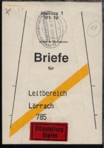 HAMBURG-FRANKFURT/MAIN n ZUG 014071 16.3.92 auf Beutelfahne