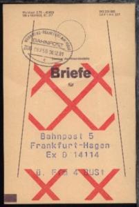 NÜRNBERG-FRANKFURT AM MAIN c ZUG 00250 18.12.81 auf Beutelfahne