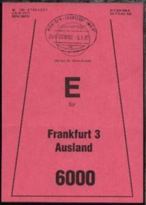MÜNCHEN-FRANKFURT (MAIN) ac ZUG 00880 8.1.87 auf Beutelfahne