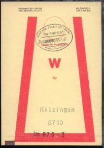 MÜNCHEN-FRANKFURT (MAIN) c ZUG 00880 05.1.87 auf Beutelfahne