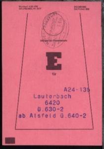 HAGEN-FRANKFURT n ZUG 14115 1.8.84 auf Beutelfahne