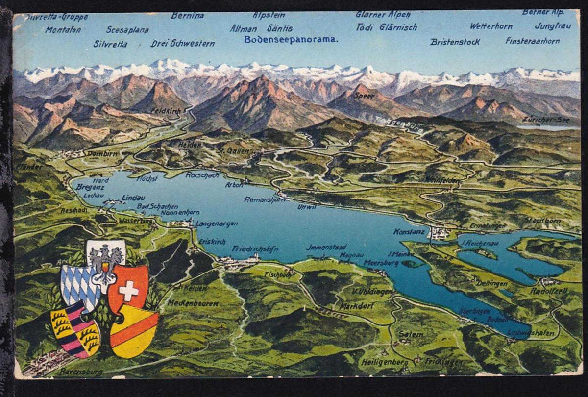 OSt. Konstanz 24.5.28 + R1 Bodenseeschiffspost auf CAK (Bodenseepanorama) mit 1