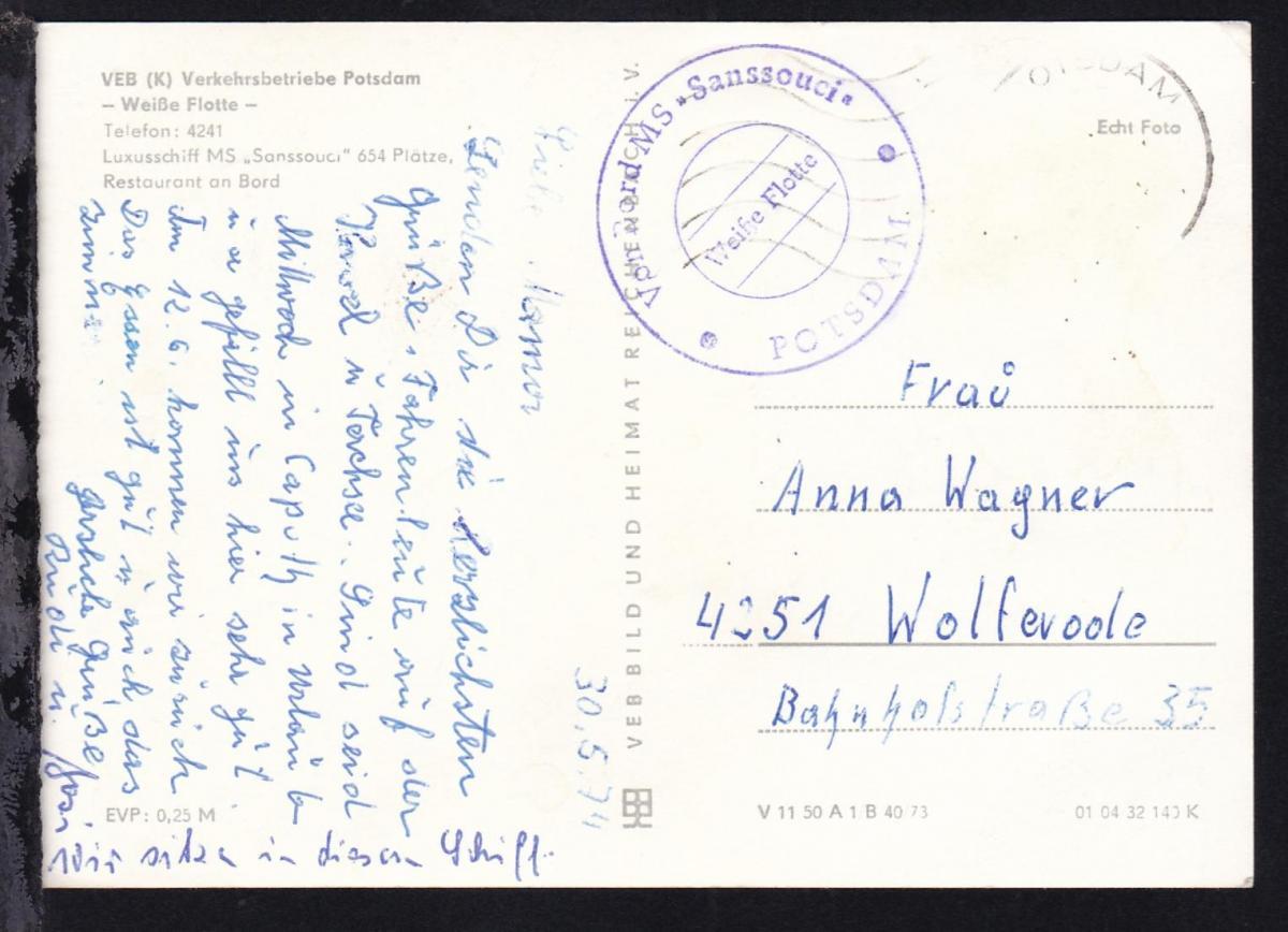 WERDER 1512 ZENTRALES JUGENDOBJEKT HAVELOBST 26.6.78 + R2 Potsdam-Werder 2