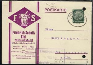 HAMBURG-KIEL ZUG 118 3.8.38 auf Firmen-PK (Friedrich Schultz, Kiel),