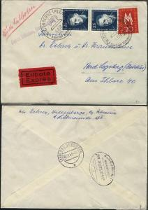 HAMBURG-KIEL f ZUG 00075 07.8.57 rs auf Eil-Bf. ab Wittenberge nach Bad Segeberg