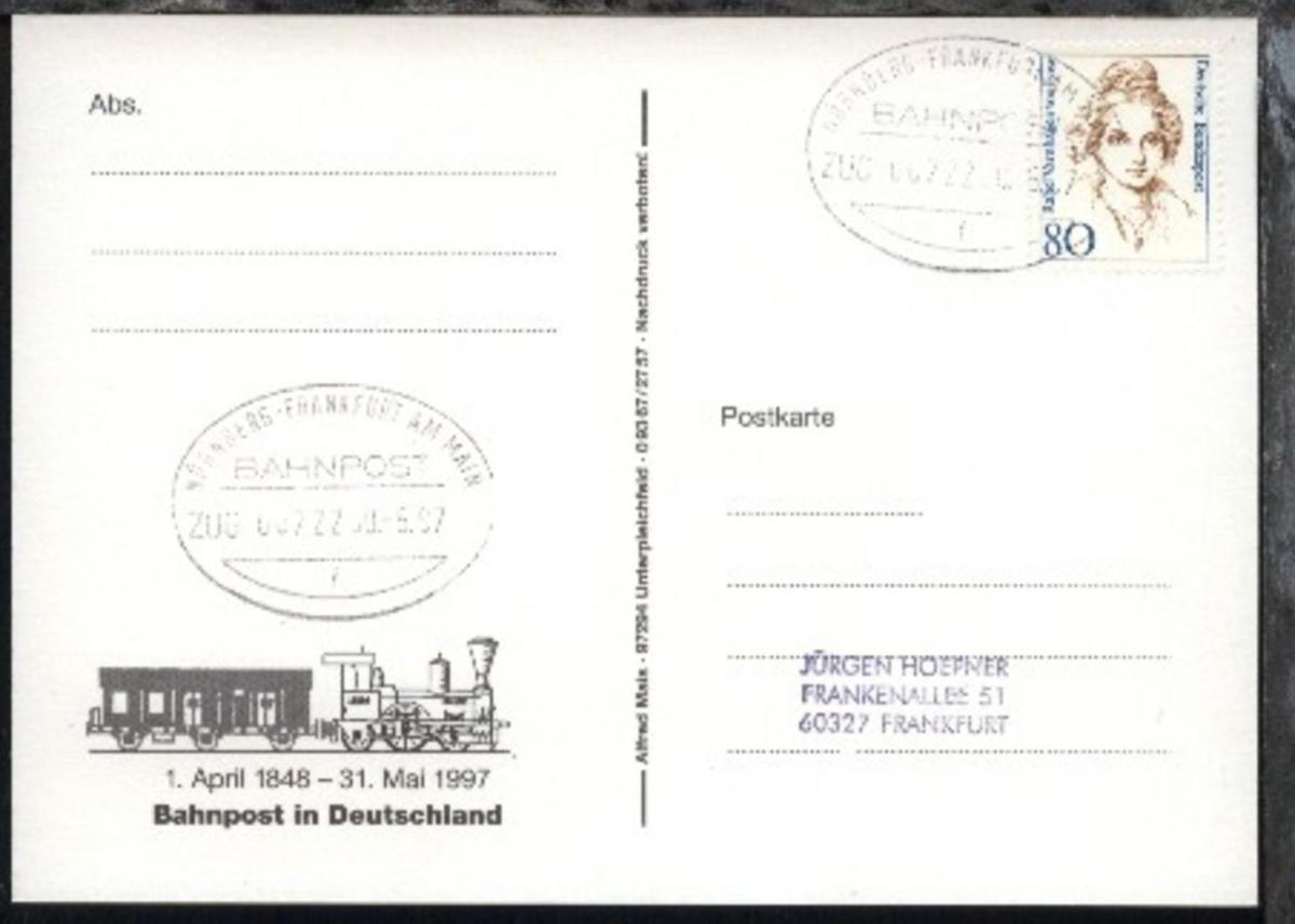 NÜRNBERG-FRANKFURT AM MAIN f ZUG 00722 30.5.97 auf AK 0