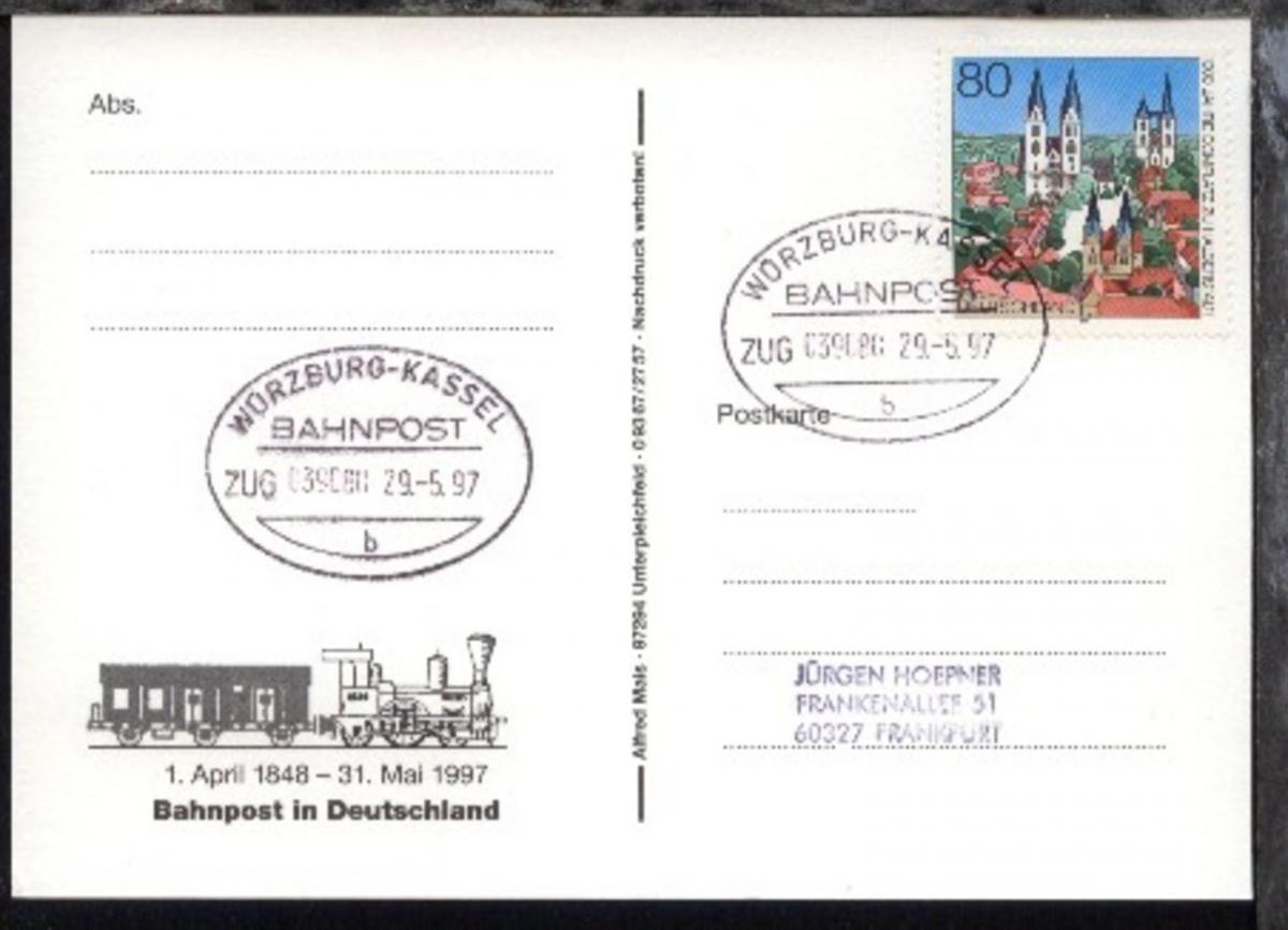 WÜRZBURG-KASSEL b ZUG 039080 29.5.97 auf AK 0