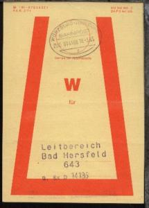 WÜRZBURG-HAMBURG y ZUG 014188 18.3.85 auf Beutelfahne