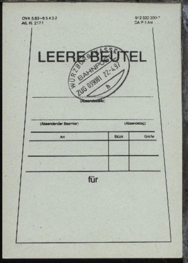WÜRZBURG-KASSEL h ZUG 039081 22.4.97 auf Beutelfahne 0