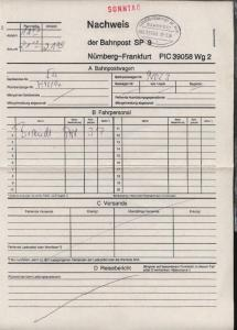 NÜRNBERG-FRANKFURT AM MAIN i ZUG 39058 10.3.96 auf Nachweis-Zettel