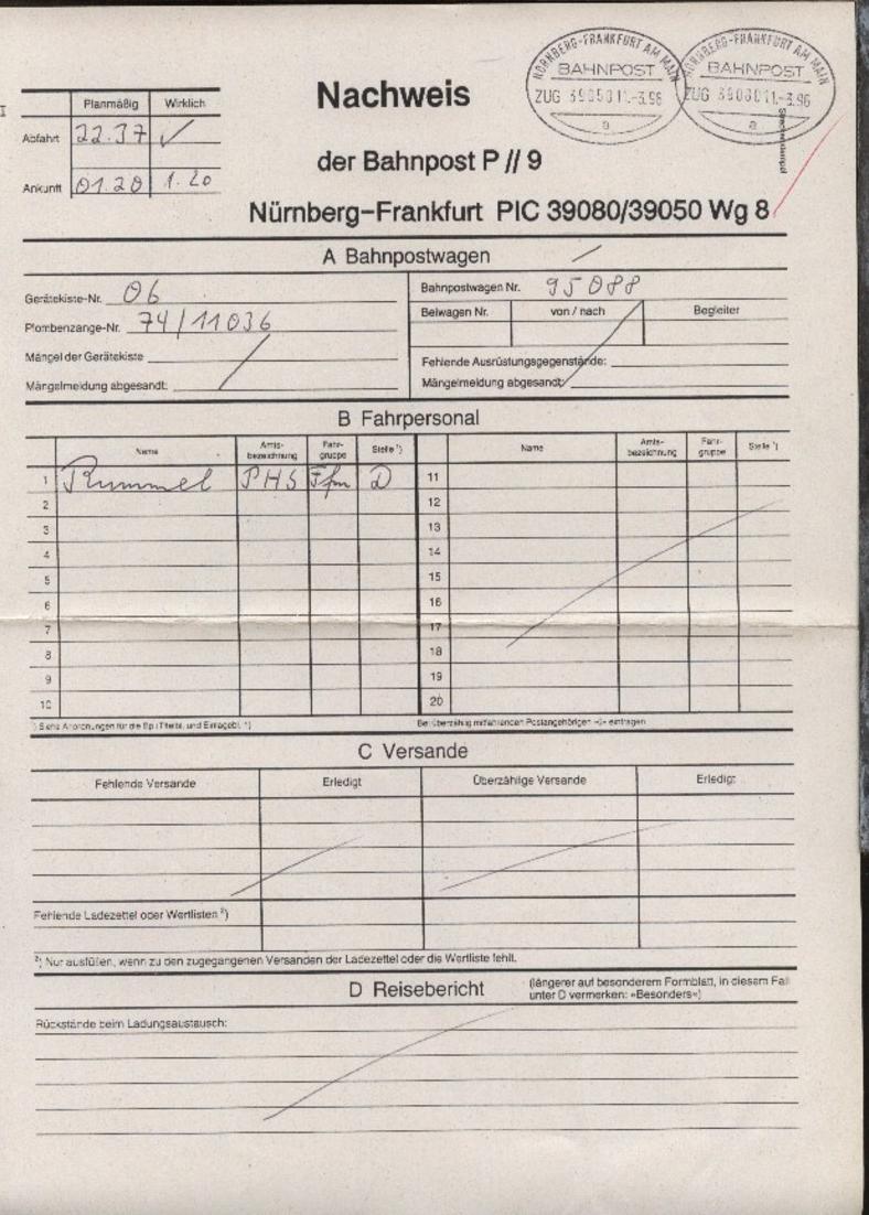 NÜRNBERG-FRANKFURT AM MAIN a ZUG 39050 11.3.96 + 0