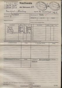 NÜRNBERG-FRANKFURT AM MAIN ZUG 39021 29.3.96 +