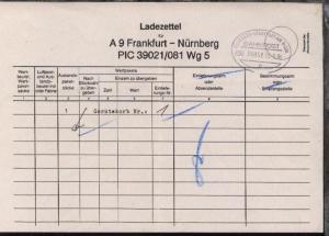 NÜRNBERG-FRANKFURT AM MAIN w ZUG 39050 23.5.95 auf Ladezettel