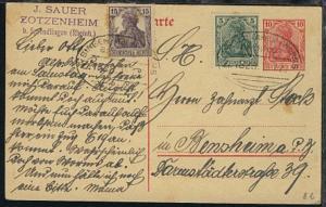 BINGEN (RHEIN)-WORMS Z. 1828 15.7.20 auf GSK mit Zusatzfrankatur