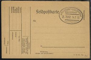 BRÜSSEL-COURTRAI Z. 702 14.7.15 blanko auf FP-Kte