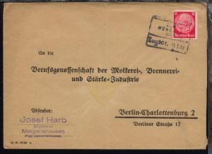 ULM MÜNCHEN BAHNPOST Zug 901 11.1.38 auf Antwort-Bf.