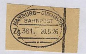 HAMBURG-CUXHAVEN Zg. 361 20.5.26 auf Bf.-Stück