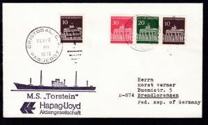 CHRISTOBAL C.Z. PAQUEBOT/1 FEB 12 1972  Cachet MS Torstein auf Brief