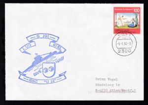 OSt. Kiel 6.1.92 + Cachet U 12 auf Brief