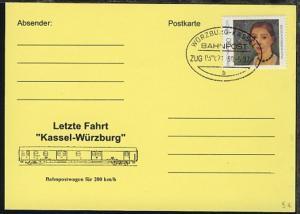 WÜRZBURG-KASSEL b ZUG 039071 30.5.97 blanko auf Sonder-PK (Letzte Fahrt)