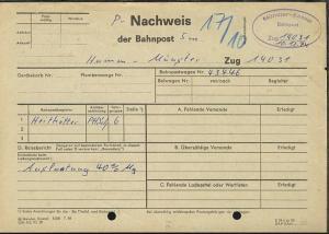 Münster-Kassel Zug 14031 10.12.74 (Zug-Nr. + Datum hs) auf Nachweis-Zettel,