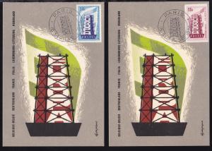 Europamarken 1956 auf Maximumkarten