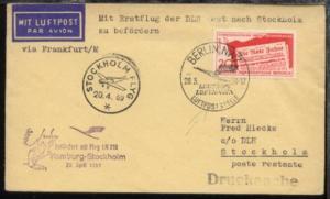 Lufthansa-Erstflug-Bf. Hamburg-Stockholm 20.4.1959 Zuleitung aus der DDR