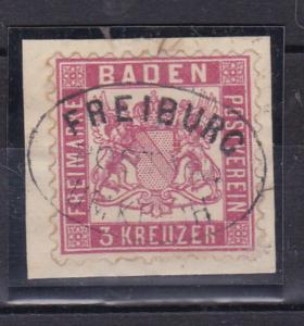 Wappen 3 Kr. auf Briefstück mit Ovalstempel FREIBURG UMKIRCH POSTABL.