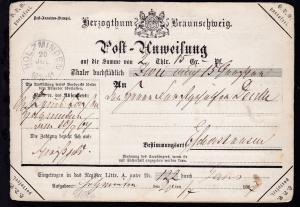 Herzogthum Braunschweig Post-Anweisung mit K2 HOLZMINDEN 20 JUL 1867