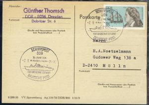 SCHIFFSPOST DDR DEUTSCHE POST 30 JAHRE DDR MS VÖLKERFREUNDSCHAFT