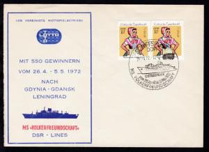 SCHIFFSPOST DDR OSTSEEREISE VOM 26. April bis 5. Mai 1972 MS VÖLKERFREUNDSCHAFT