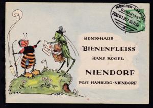 MÜNCHEN-GARMISCH BAHNPOST a ZUG 01357 08.12.56 auf Firmenantwort-Postkarte