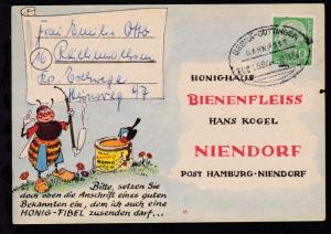 BEBRA-GÖTTINGEN BAHNPOST ZUG 1894 8.11.56 auf Firmenantwort-Postkarte